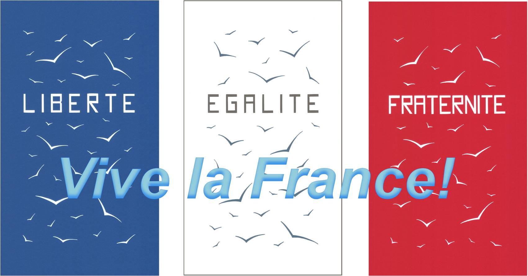 Vive la France, avec ses valeurs de Liberté, d'Egalité et de Fraternité!