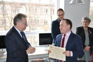 Lauréat du Concours IFprofs Moldavie – Deuxième Prix «Membre le plus dynamique», offert par par Son Excellence, M. Pascal Le Deunff, Ambassadeur de France en République de Moldavie, 12 mars 2018